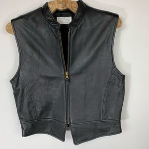 Black Leather Vest Zip Front Sz 6